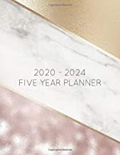 2020 - 2024 5 Year Planner: Marble Rose and Gold. 60 Months Calendar and Organizer, Monthly Planner with Holidays. Plan and schedule your next five years.