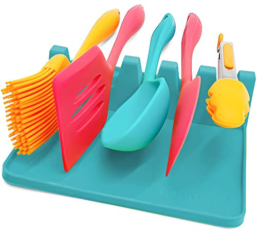 Large 5 Slots Silicone Spoon Rest for Kitchen Silicone Utensil Rest with Drip Pad 7x7x2in more Slots 5 vs 4 than Competition Spoon Holder for Stove Top BBQ Utensil Holder Aqua by Hatrigo