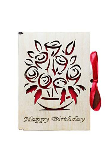 Grußkarte Aus Holz I Handgefertigte I Geschenkkarten Mit Umschlag I Hochzeitskarte I Weihnachtskarte I Geburtstagskarte I Glückwünschekarte I Muttertagkarte I Design Kleine Blumenstraußkarte