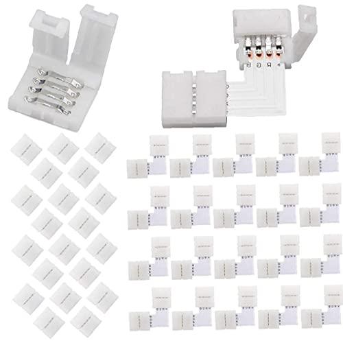 Conector Kit tira del RGB LED en forma de L de 10 mm 4-Pin Corner soldadura conector blanco sin pausas adaptador 40PCS, conector de LED