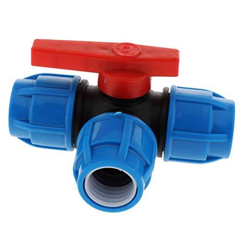 PE Wasserrohr 3 Wege Schlauch Rohrverbinder Adapter Schlauchabzweigung Schlauchteiler mit Ventil - 32mm Kunststoffkern