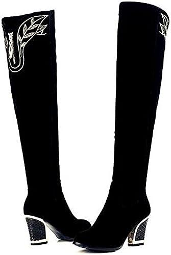 ZHZNVX HSXZ schuhe de damen de Cuero de Nubuck Perezoso Invierno Stiefel Stiefel Chunky talón Puntera rotonda Muslo-Alta Stiefel Applique for Casual schwarz