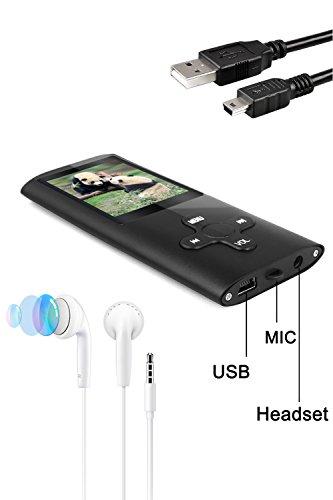 Tabmart® MP3 MP4 Musik Player Inklusiv 16 GB MicroSD Unterstützung Audio Player Media Player 1,81 Zoll Farbdisplay FM Radio E-Books Lange Akkulaufzeit Musik Player Schwarz