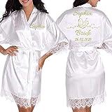 Kimono - Albornoz para mujer (satén) Albornoz blanco XXL