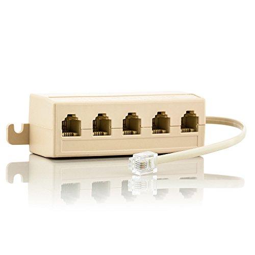 Saxonia. RJ14 Splitter mit Kabel Telefonkabel 5X Verteiler | 5 Steckplätze für den Anschluss von Telefonen Faxgeräten Modems mit Zwei Leitungen | Kupplung LAN ISDN Adapter Ethernet Netzwerk