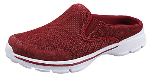 ChayChax Womens Slip-on Mules House Slippers Shoes Comfortable Casual Indoor Outdoor Slippers Clogs Non Slip Red