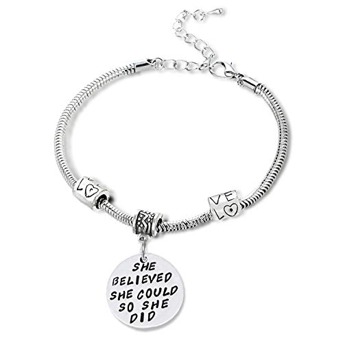 """She believed she could so she did"" Pendant Bracelet – Friends Family Jewelry Gift – 10''"