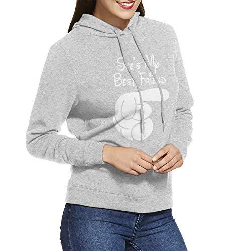 She's My Best Friend Long Sleeve Women's Hoodie Sweatshirt Drawstring Hooded Pullover Tops Blouses Gray XXL