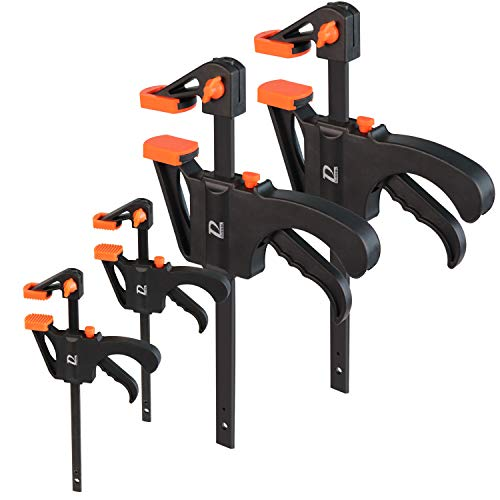 Quick Grip Clamps for Woodworking 2 Different Size Ratchet Bar Clamps 6 inch (2), 4-inch (2) One-Handed Clamps