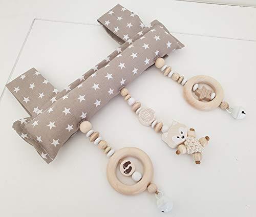 Baby Mobile Clip für den Tragegriff der Babyschale oder Wippe (Beige, Natur, Fuchs)