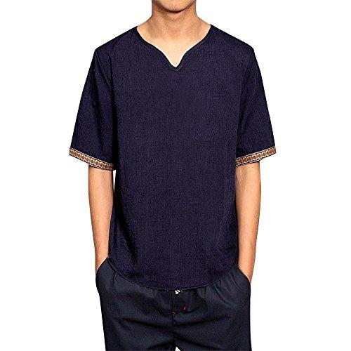 FiveFeed Herrenhemden Leinenhemd Herren Kurzarm V-Ausschnitt Hemd Sommer Leicht Button Down Regular Fit Henley Freizeithemd Sommer Freizeit Men´s Shirt