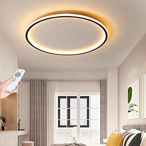Lámpara de techo LED regulable control remoto dormitorio moderno Lámpara de sala de estar Pantalla acrílico redonda negra ultrafina Luz de techo Cocina Habitación de niños Lámpara de pasillo,50cm
