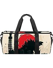 Cartoon Dinosaurus Sport Gym Bag Cilindrische Reizen Duffel tas met natte zak Lichtgewicht workout tas Reizen met Schouderriem voor mannen vrouwen