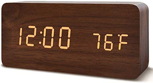 Campana mecánica Reloj despertador LED de la cama de madera de la cabecera, reloj de alarma digital en silencio, reloj de escritorio sin tictac con control de sonido Brillo ajustable for dormitorios O