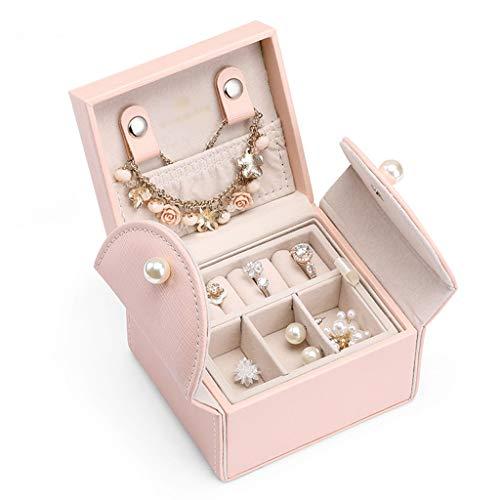 LTCTL Mini Caja De Joyería Doble Capa De Viaje Organizador De Joyería Cajas De Almacenamiento De Joyas para Collar, Pendientes,Anillos (Color : Pink)