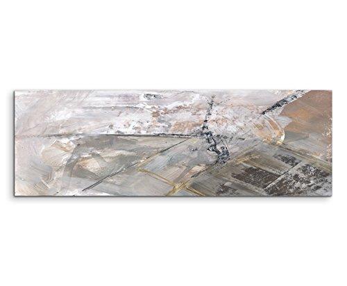 Paul Sinus Art 120x40cm Panoramabild abstrakt Leinwanddruck Kunstdruck Wandbild grau schwarz weiß Schlieren