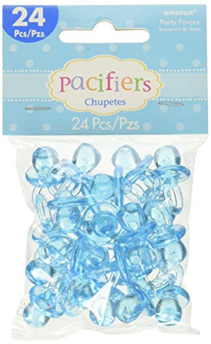 Mini ciondoli a Forma di Ciuccio in plastica, per bomboniere, Colore: Blu