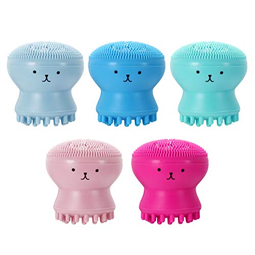 Vtrem 5 Pack Facial Cleansing Brush Silicone Handheld Face Brush and Massager Cute Small Octopus Shape Face Scrubber for Deep Cleaning Gentle Exfoliating Skin Massage