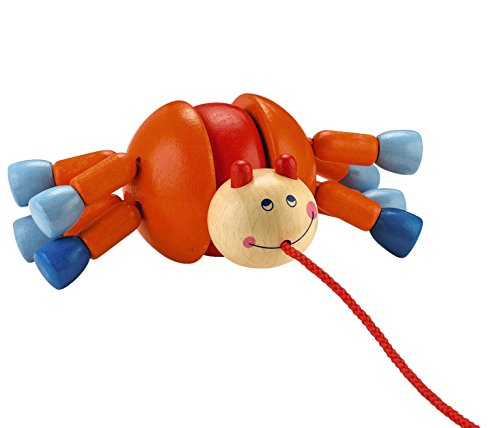 HABA Webby Walker Wooden Pulling Animal with 8 Legs of Wobbling Fun Classic Pull Toy