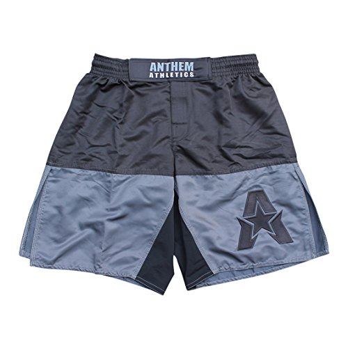 Anthem Athletics 50/50 MMA Fight Shorts - BJJ, Muay Thai, WOD, Cross-Training, OCR - Grey & Black - Large