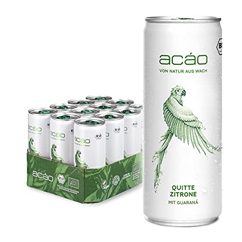 acáo Quitte-Zitrone, Bio-Erfrischungsgetränk mit Guaraná (12 × 250 ml), inkl. 3 € Pfand – die gesunde Alternative zu Energy Drinks – kalorienarm, bio-zertifiziert & vegan