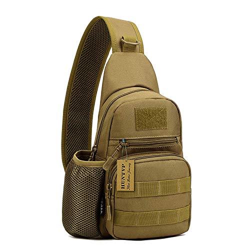 Huntvp Taktisch Brusttasche Military Schultertasche mit Wasserflasche Halter Chest Sling Pack Molle Armee Crossbody Bag Militärisch Umhängetasche für Wandern Camping - Typ-1 Braun