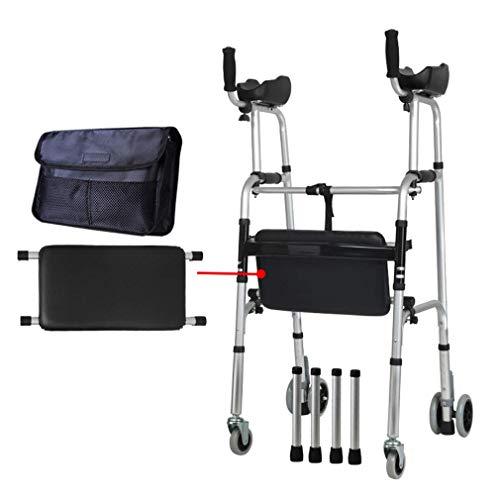 Z-SEAT Duschstuhl mit weichem Polster, Faltbarer Rollator Walker mit Abnehmbarer Armlehne und Beinen - Höhenverstellbarer Rolltransportstuhl mit 6 Rädern und Tragetasche   Gehhi