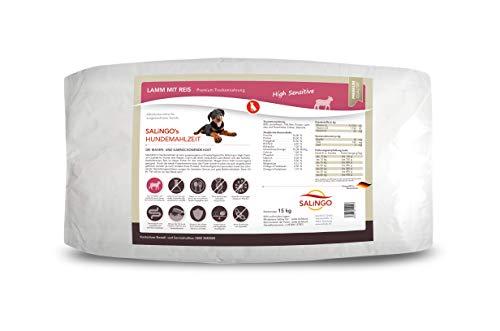 SALiNGO High Sensitive Hundefutter trocken, Trockenfutter Lamm und Reis, zuckerfrei, Single Protein, für Sensible Hunde mit hohem Fleischanteil, 15kg