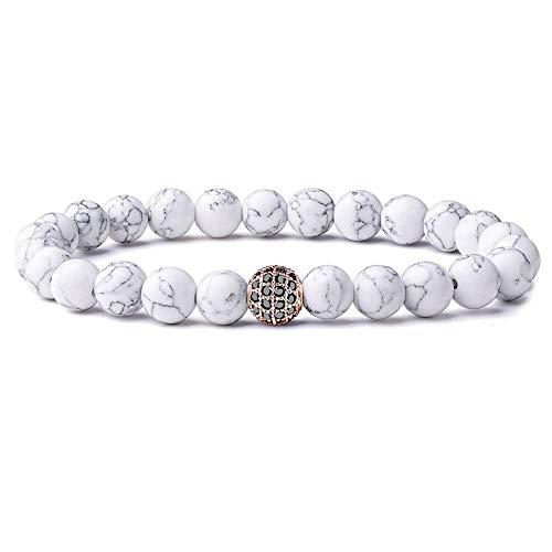 YiYYI HQXIZ armbanden 2 stuks paar armband voor mannen en vrouwen bal 8 mm natuurlijke zwart-witte stenen parels sieraden cadeau
