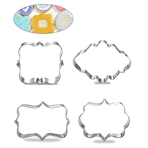 BESTOMZ Edelstahl Plaque Rahmen Gebäck Ausstechform Kuchen Fondant Pancake Schere Form Pack von 4