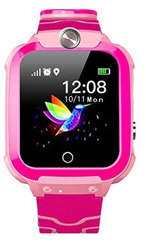 Smartwatch Kinder Tracker Kinderuhr Digital Smart Watch Kinder LPS Uhr Kinder Telefonieren Smartwatch Kinder Telefon Wasserdicht Deutsch Kinder Handyuhr mit Ortung (W01 Pink Temp)