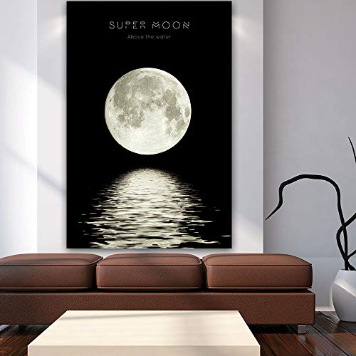 KWzEQ Lunar Eclipse Wall Art Painting Minimalist Canvas Poster Print Universe Long Artist Home Decoration,Frameless painting,60X90cm