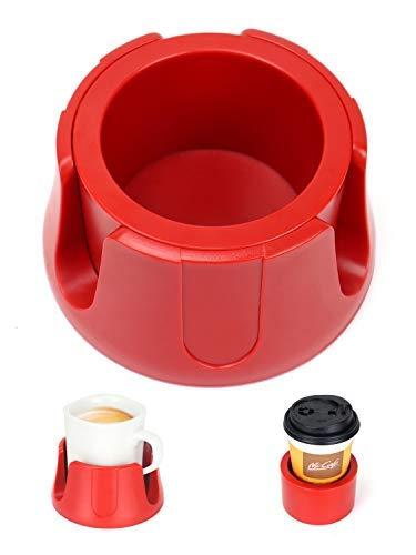 Sottobicchiere anti-versamento con tappetino antiscivolo, adatto per bevande di tutte le dimensioni, per casa, ufficio all'aperto (rosso)
