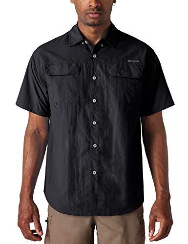 NAVISKIN Camisa Casual de Manga Corta Protección UV UPF 50 para Hombre Camiseta Deporte Térmica Pesca Acampada Campismo Senderismo Marcha Ligero Secado Rápido (Negro, L)