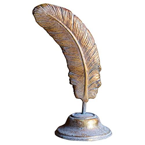 Kyydod Esculturas Decoración de Plumas Doradas, vajilla de Hierro, Escultura de Soporte nostálgico, 11x33.5cm