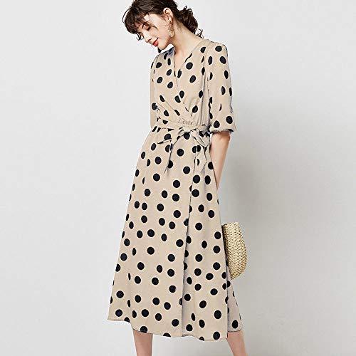 SHENSHI Women Dresses,Turn Down Collar Office Wear Long Sleeve Loose Midi Dress,Apricot,Small