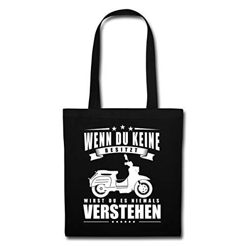 Spreadshirt Ostalgie DDR Wenn Moped Du Keine Besitzt Wirst Du Es Niemals Verstehen Stoffbeutel, Schwarz