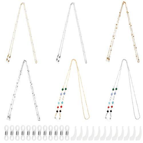 Yangfei 6pcs Cordón para Gafas Cuerda gafas Correa con 6pares Extremos de Goma y 6pares Soporte Antideslizante para Gafas, Cadenas para Gafas de Sol de Mujer y Hombre (3 estilos)