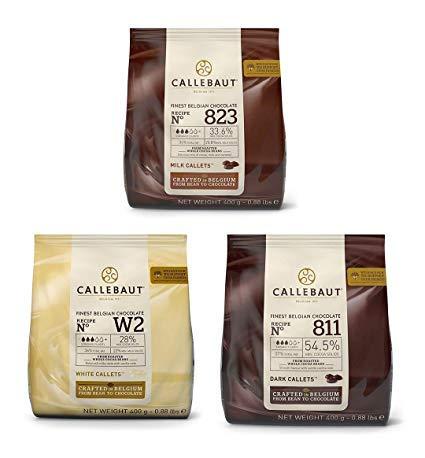 CALLEBAUT Receipe No. 811, 823 und W2, Kuvertüre Callets, Zartbitterschokolade, Milchschokolade und weiße Schokolade, 400g - 3er Pack