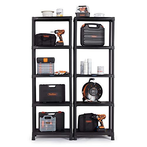 VonHaus 5 Tier Garage Shelving Unit (Pack of 2) - Black Plastic Interlocking Utility Storage Shelves - Each Unit: 68 x 24 x 12 inches