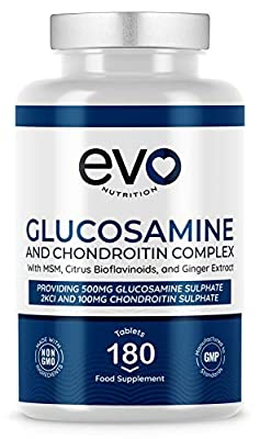 Glucosamine & Chondroitin Complex | 180 High-Strength Tablets | 6 Months Supply | with MSM, Collagen, Citrus Bioflavonoids & Ginger Root Extract | Made in UK by EVO Nutrition