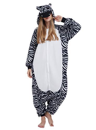 Pijama Animal Entero Unisex para Adultos con Capucha Cosplay Pyjamas Cebra Ropa de Dormir Traje de Disfraz para Festival de Carnaval Halloween Navidad