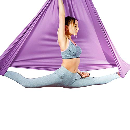 Aum Active Aerial Silk Fabric for Yoga Swing Pilates, Antigravity Yoga, Inversion Exercises, Improved Flexibility & Core Strength - for Ceiling Height Upto 9 ft - Pose Guide Included (Lavender)