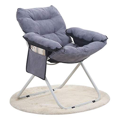 GJFeng Nouvelle Peau Conviviale Velours Maison Loisirs Chaise Longue Paresseux Canapé Chaise Extérieure Portable en Aluminium Pliante Lune Chaise75 * 75 * 85CM (Color : Gray, Size : S(Footstool))