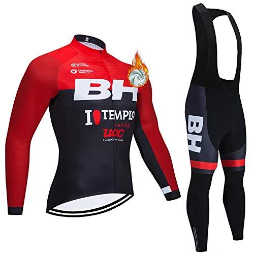 METAAN Equipo Profesional para Hombre Bicicleta MTB Bicicleta Invierno Ciclismo Térmico Jersey De Manga Larga Y Pantalón con Tirantes Conjunto De Traje con 3 Bolsillos