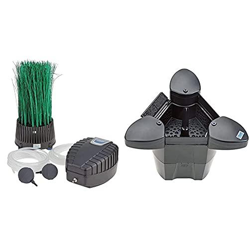 OASE 57071 Teichbelüfter OxyTex Set 500 | Teichbelüftung | Sauerstoffversorgung | Belüftungspumpe | Filtermedium & 57384 SwimSkim 25
