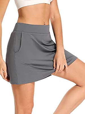 Women's Athletic Skorts Lightweight Active Skirts with Shorts Pockets Running Tennis Golf Workout Sports,8885,Grey,L