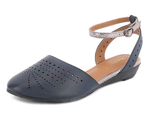 MaxMuxun Women's Cut Out Cage Closed Toe Wedge Flat Sandals Blue