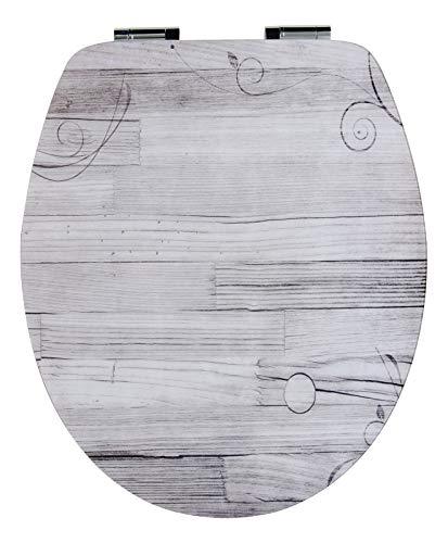 SITZPLATZ® WC-Sitz mit Absenkautomatik, Holz Dekor Holzromantik, High Gloss, Toilettensitz mit Holzkern, ovale O Form, Schnellbefestigung, Metallscharniere, Toilettendeckel Holz, glänzend, 40285 9