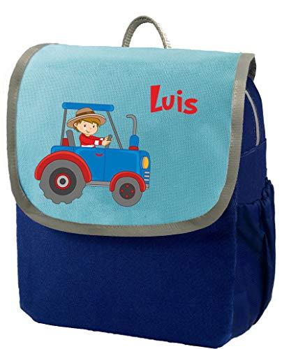 Mein Zwergenland | Kindergartenrucksack | Happy Knirps Next | Personalisierter Rucksack mit Namen | Kindergartenrucksack für Jungen & Mädchen | Rucksack Kinder 6 Liter | Blau | Traktor